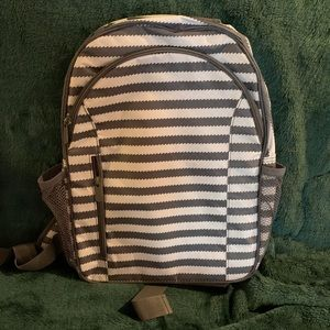 Gray and white striped Thirty-one backpack.